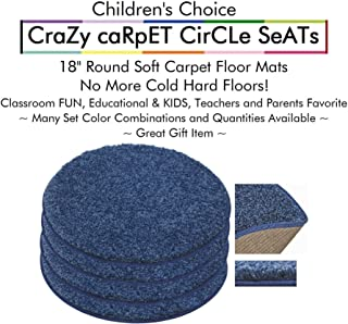 """Set 4 - Super Hero Kids Crazy Carpet Circle Seats 18"""" Round Soft Warm Floor Mat - Cushions   Classroom, Story Time, Group Activity, Time-Out Spot Marker and Fun. Home Bedroom & Play Areas"""