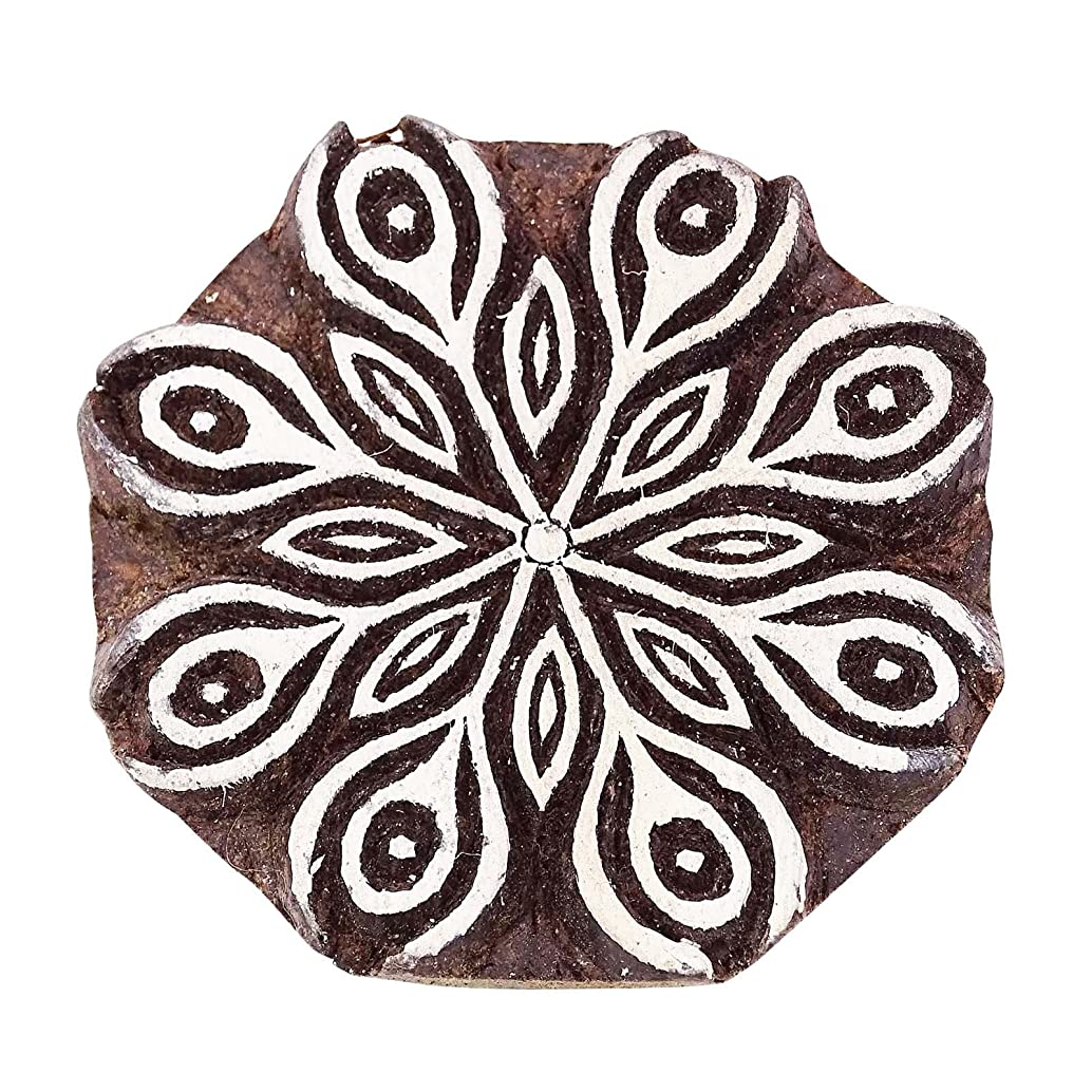 Women Printing Block Art Brown Wooden Floral Stamp Hand Carved Textile Stamp