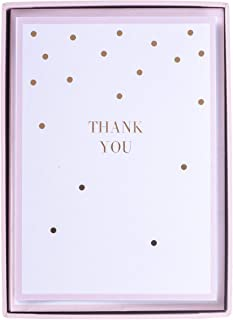 Graphique Soft Pink Dots Boxed Notecards, 16 Blank Embellished Rose Gold Foil Cards with Matching Envelopes and Storage Box, 3.25