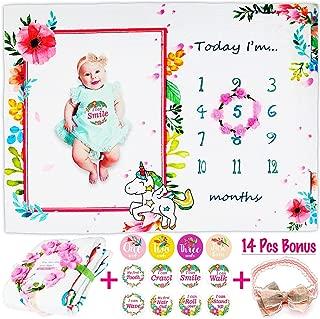 "Baby Monthly Milestone Blanket, Includes 12 Milestone Stickers, Floral Wreath & Headband, Soft 300GSM 100% Organic Thick Fleece, 56x40"" Photography Background Prop, Best NewbornBaby Girl Shower Gift"