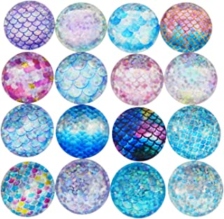 JJG 40pcs Mixed Mermaid Scale Round Time Gem Cover Glass Cabochon Dome Jewelry Finding Cameo Pendant Settings, 25MM