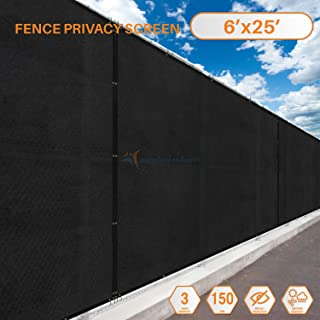 Sunshades Depot 6'x 25' FT Black Privacy fence screen Temporary Fence Screen 150 GSM Heavy Duty Windscreen Fence Netting Fence Cover 88% Blockage