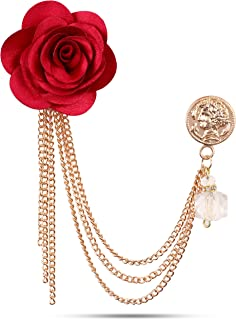 0209c4644 PANJATAN WI Retail Maroon Fabric Rose with Floral Rose Gold Chain Brooch  for Men and Women