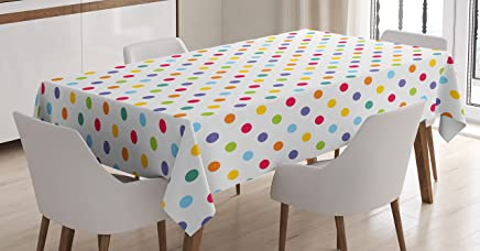 Ambesonne Abstract Tablecloth, Colorful Polka Dots Round Circular Vintage Fashion Girls Feminine Baby Design, Rectangular Table Cover for Dining Room Kitchen Decor, 60 X 90, White Purple