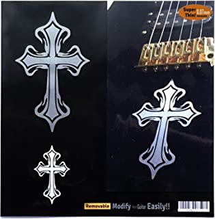 Metallic Tribal Cross (large and small) Set Inlay Sticker Decal Guitar & Bass