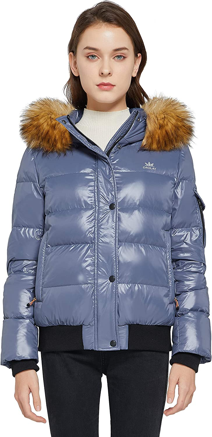 Orolay Women's Thickened Winter Bubble Down Coat Shiny Puffer Jacket with Fur Hood