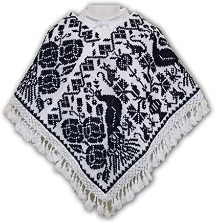 Quexquémetl -MAÑANITA Blanca y Negro-. Bordado con punto de Cruz. Diseño