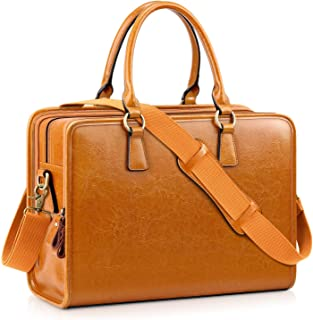 Kattee Genuine Leather Briefcase for Women, Large Capacity Laptop bag with Luggage Tag