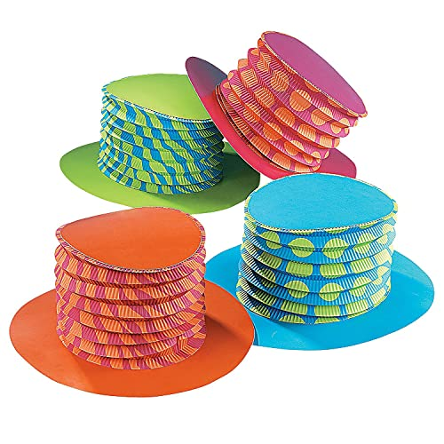 Fun Express - Bright Colors Accordion Hats - Apparel Accessories - Hats - Party Hats -