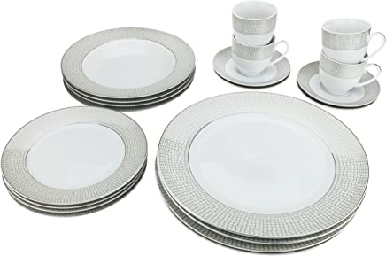 Majestic Porcelain G1330-20, Silver-Plated Dinnerware Set, Dinner Service for Four