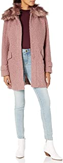 Jessica Simpson Women's Fleece Lined Belted Soft Shell Jacket with Faux Fur Trim