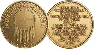 Native American In Recovery Great Spirit Bronze Medallion Chip AA Alcoholics Anonymous by Wendells