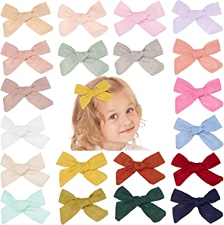 20 Pieces Baby Girls Hair Bows Clips Multicolored Linen Hair Barrettes Accessory for Infant Toddlers Kids