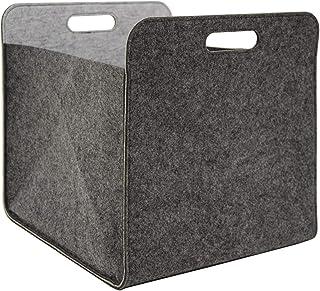 DuneDesign Caja Almacenamiento Fieltro 33x33x38cm Cesta Fieltro Caja Kallax Inserción en estanterías Gris