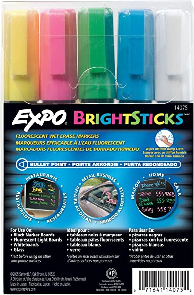 EXPO BrightSticks Fluorescent Wet Erase 14075