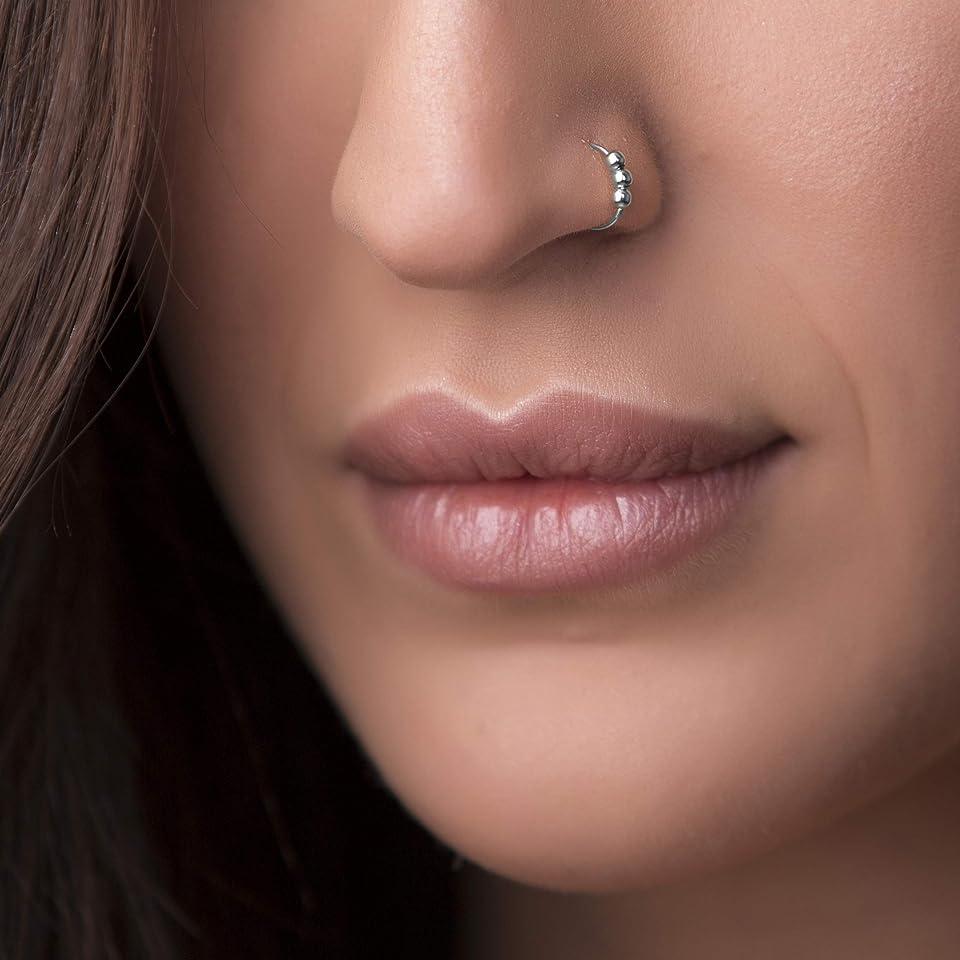 Sterling Silver Nose Piercing hoop - Silver Beaded Nose Ring - 24 Gauge