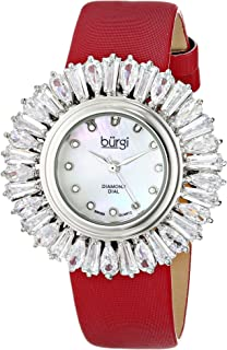 Burgi Women's Bur092Rd Swiss Quartz Silver Crystal Accented Swiss Quartz Watch With Mother Of Pearl Dial and Red Fabric St...