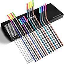 """VEHHE Stainless Steel Straws Reusable 8 Set Drinking Metal Straw 10.5"""" Extra Long Colorful FDA Approved BPA Free for 20/30..."""
