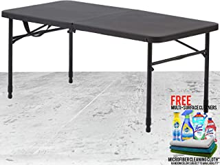 40 Inches Plastic Adjustable Height Fold-in-Half Folding Table, Rich Black Bundled with Free Microfiber Cleaning Cloth and Multi Surface Cleaner