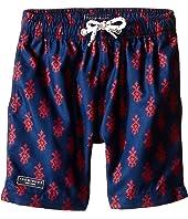 Toobydoo - Red/Navy Printed Swim Shorts/White Lace Drawstring (Infant/Toddler/Little Kids/Big Kids)