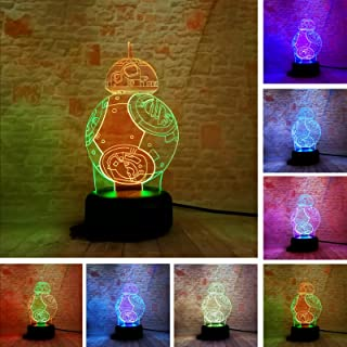 BB-8 3D Mixed-Colored Lamp Star War Fuwa Force Awaken Night Touch 7 Color Change Best Gift Night Light LED Furnish Desk Table Lighting Home Decor Toys
