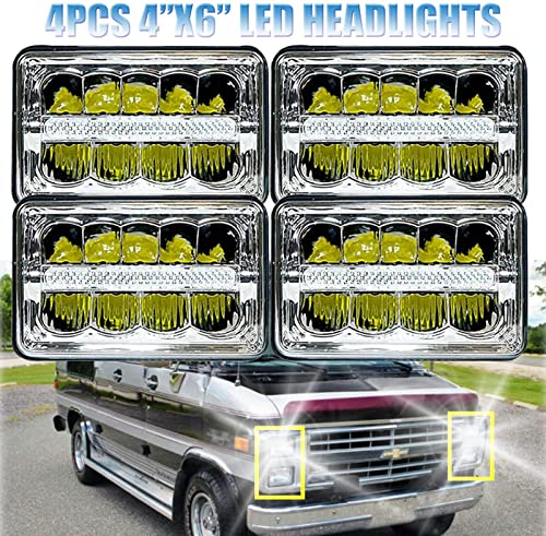 new arrival 4x6 LED Headlights for Peterbil Kenworth Freightinger Ford Probe Chevrolet Oldsmobile Cutlass Rectangular Replace sale H4651 H4652 H4656 H4666 H6545 Headlamp with DRL outlet online sale 4Pcs, 2 Year Warranty online