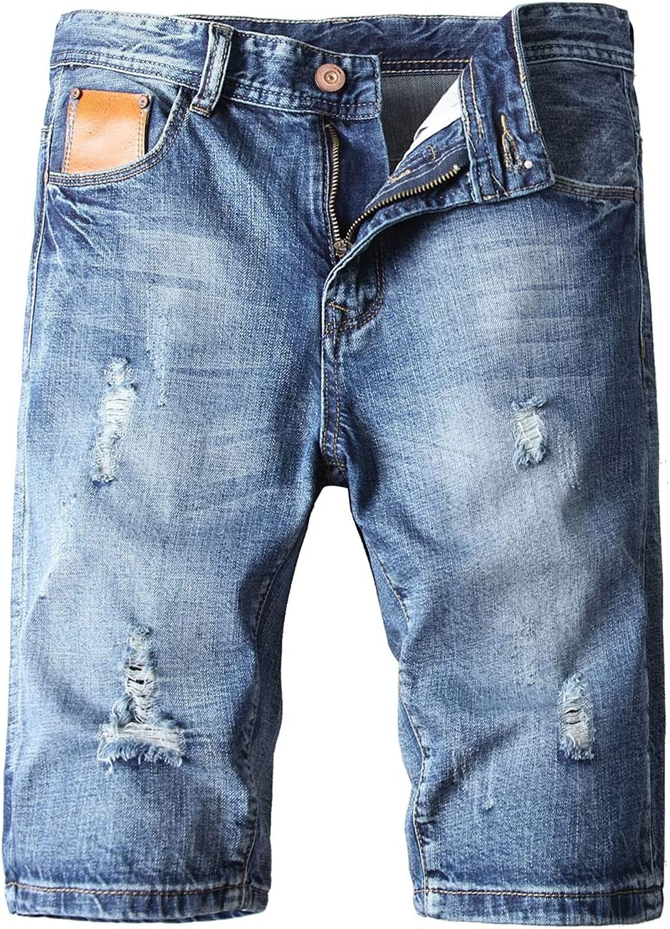 Men's Casual Ripped Denim Short Fashion Straight Fit Washed Jeans Shorts Summer Slim Cotton Stretch Holes Jean Shorts (Light Blue,29)