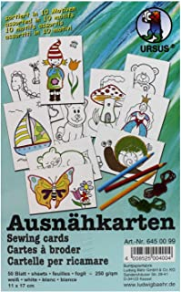 Ursus 6450099F - Ausnähkarten in 10 verschiedenen Motiven, 50 Blatt, 11 x 17 cm, weiß