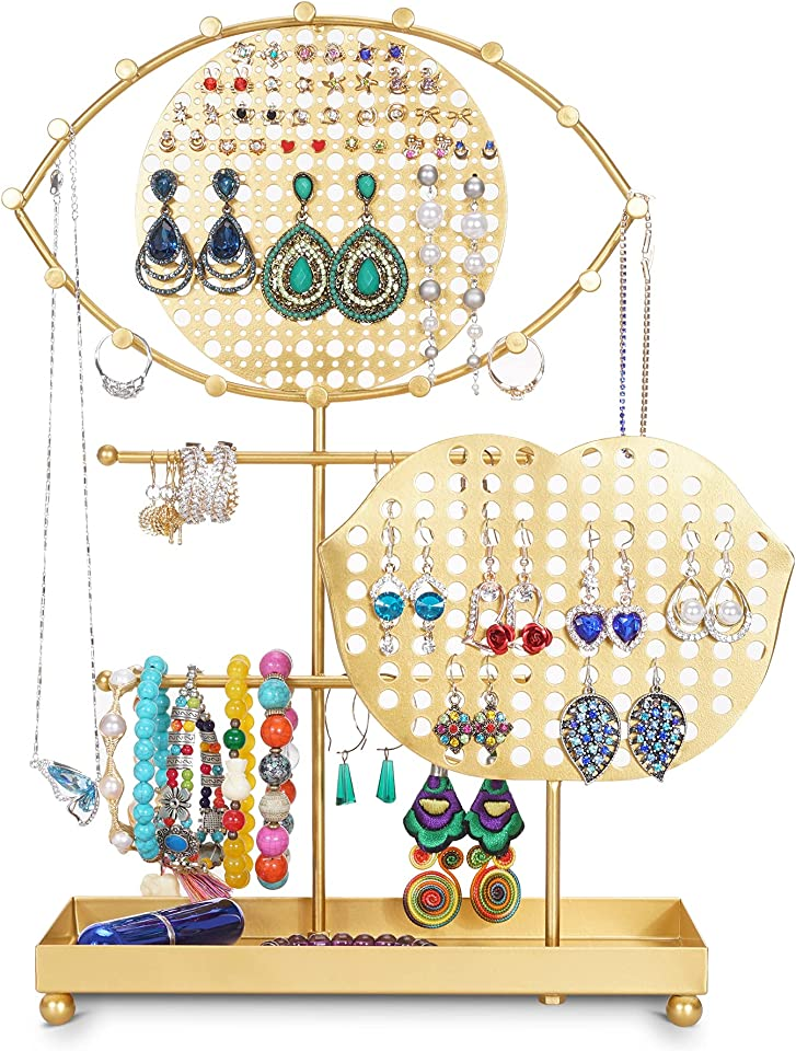 Jewelry Display Stand Holder with Unique design of eyes and mouth,Bracelet & Necklace Jewelry Organizer Display Rack,Ear Stud Holder,Earring Stand with Ring Tray gold