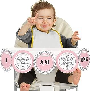 Big Dot of Happiness Pink Onederland 1st Birthday - I Am One - First Winter Wonderland Birthday High Chair Banner