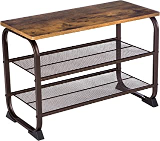 VASAGLE Industrial Shoe Bench Rack, 3-Tier Shoe Storage Shelf for Entryway Hallway Living Room, Wood Look Accent Furniture with Metal Frame, Easy Assembly ULMR32A