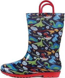 Litfun Toddler Kids Rain Boots for Boys Girls Lightweight Waterproof Rain Boots with Easy on Handles