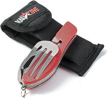 Kadactive Set de cubiertos plegables de camping de acero inoxidable de 4 funciones - Cuchillo, cuchara, tenedor, abrebotellas – inluye funda