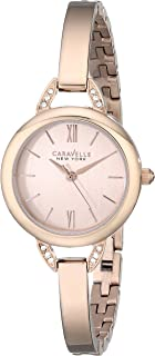 Caravelle New York Womens Crystal Analogue Stainless Watch - Rose Gold Bracelet - Rose Gold Dial - 44L133