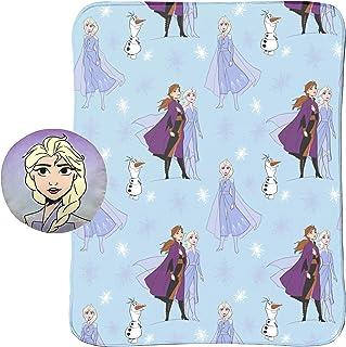 "Jay Franco Disney Frozen 2 40"" x 50"" Blanket, Kids Super Soft 2 Piece Nogginz Set Featuring Elsa, Anna, & Olaf (Official D..."