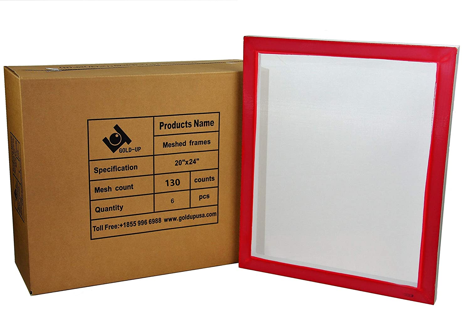20 x 24 Inch Pre-Stretched Aluminum Silk Screen Printing Frames with 130 White Mesh (6 Pack Screens)