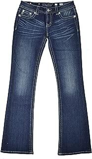Women's JP7577B Beaded Frayed Embellished Signature Boot Cut Jeans Dark Blue Wash