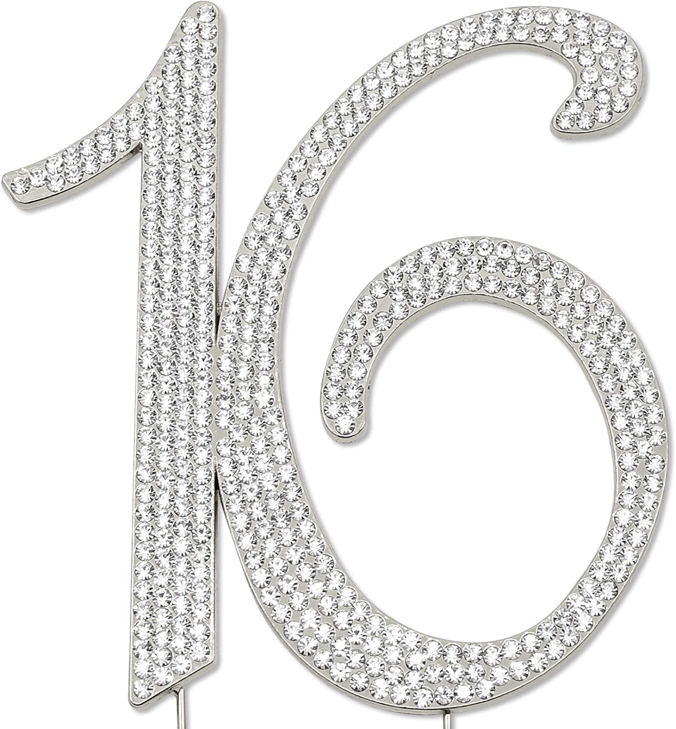 Sparkly Rhinestones Number 16 Cake At the price SEAL limited product Anni Topper Birthday Wedding