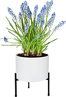Mid Century Plant Stand Indoor & Outdoor Metal Flower Pot Stand Suitable for 10-12 Inch Planter - Tripod Matte Black, for House and Patio Modern Decor - Sturdy Galvanized Iron (Planter Not Included)