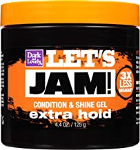 Hair Gel by SoftSheen-Carson Dark and Lovely Let's Jam, Shining and Conditioning Gel, Extra Hold, For all Hair Types, Styling Gel Also Great for Braiding, Twisting & Smooth Edges, 4.4oz