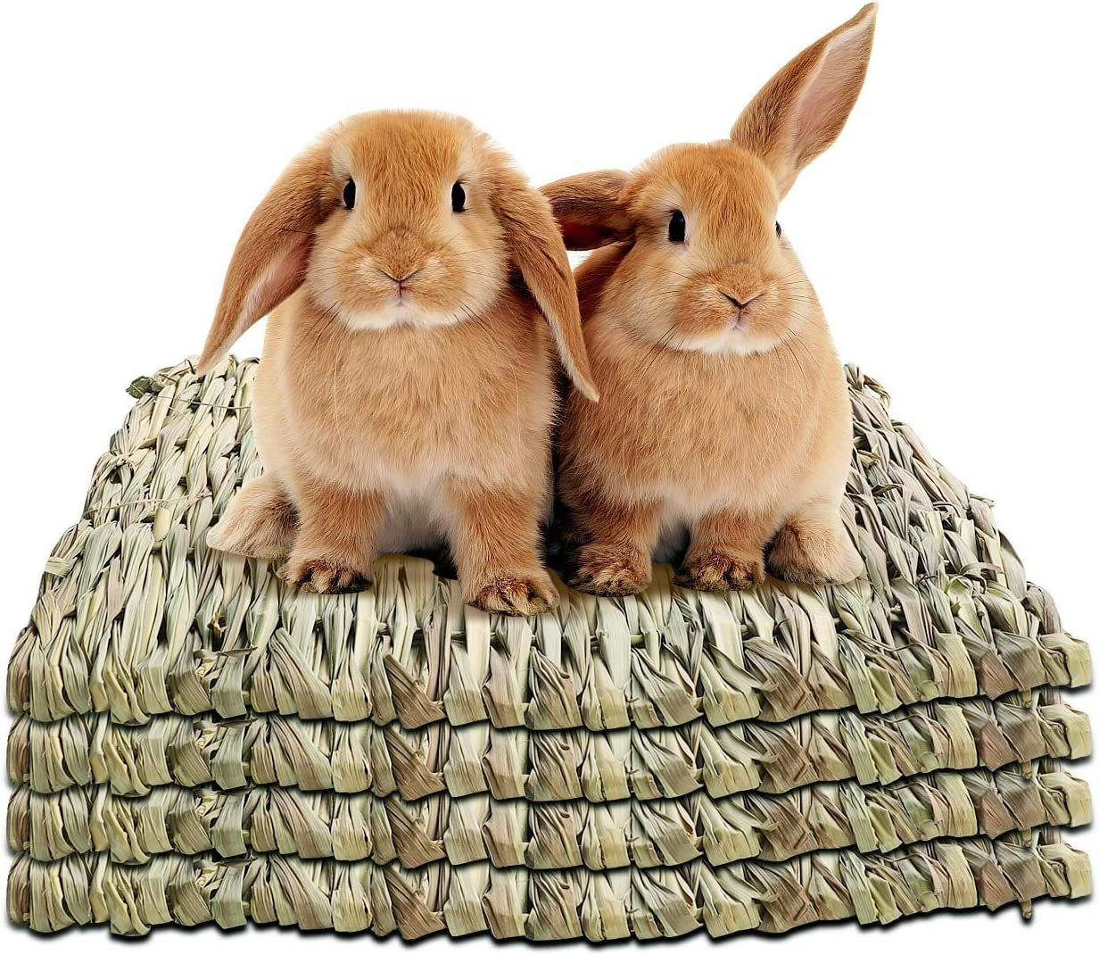 WUHOSTAM 4 Pack Grass Mat Raleigh Mall for Natural Bed Rabbits Hay Woven Max 71% OFF