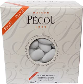French Almond Dragees (French Jordan Almonds), White color 1kg (2.2lbs)