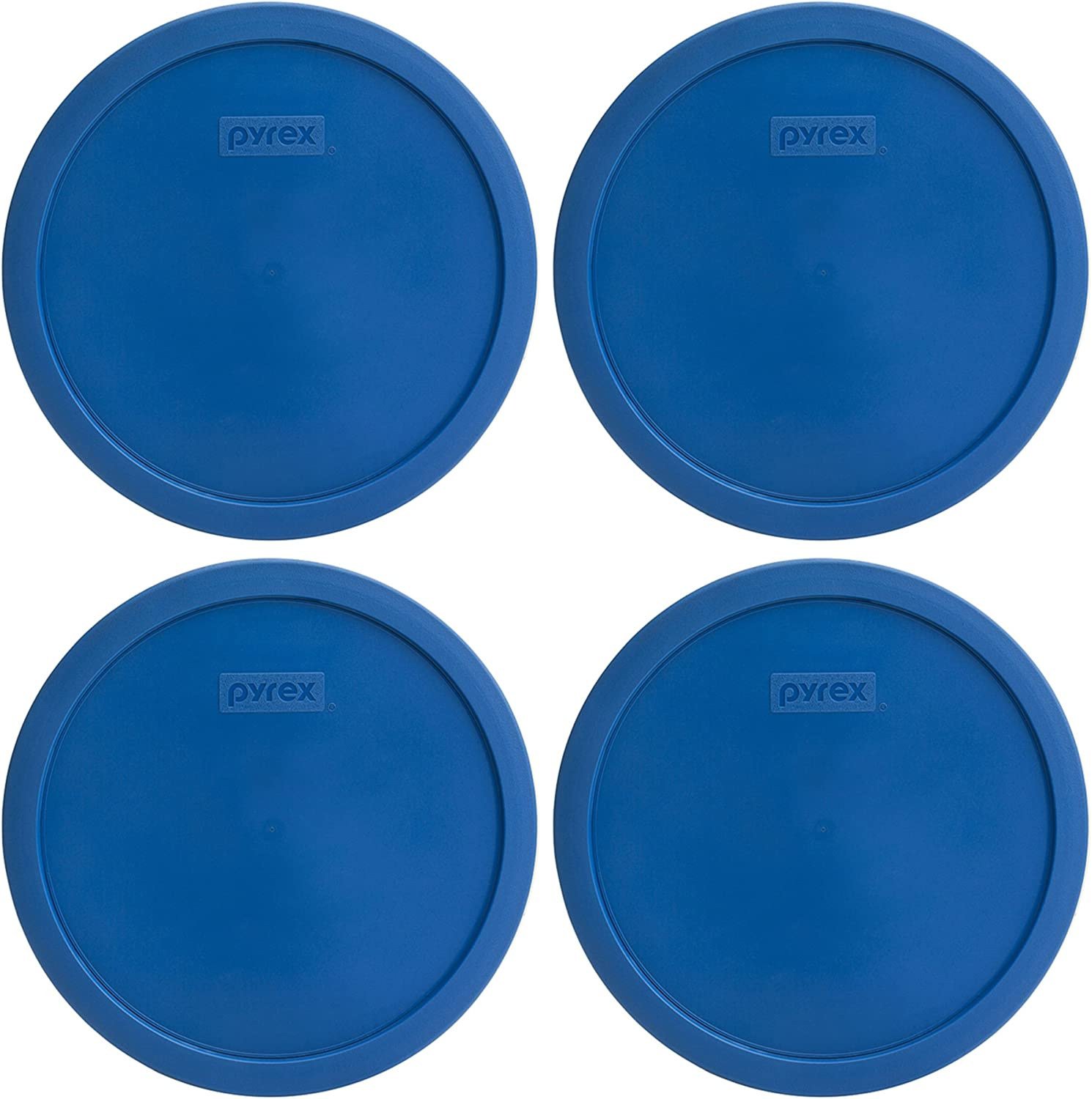 Pyrex 7401-PC 3-Cup Lake Blue Round Plastic Lids - 4 Pack: Home & Kitchen