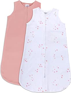 Ely's & Co. 100% Cotton Wearable Blanket Baby Sleep Bag Solid Dusty Rose and Mauve Pink Stars 2 Pack (0-3 Months)