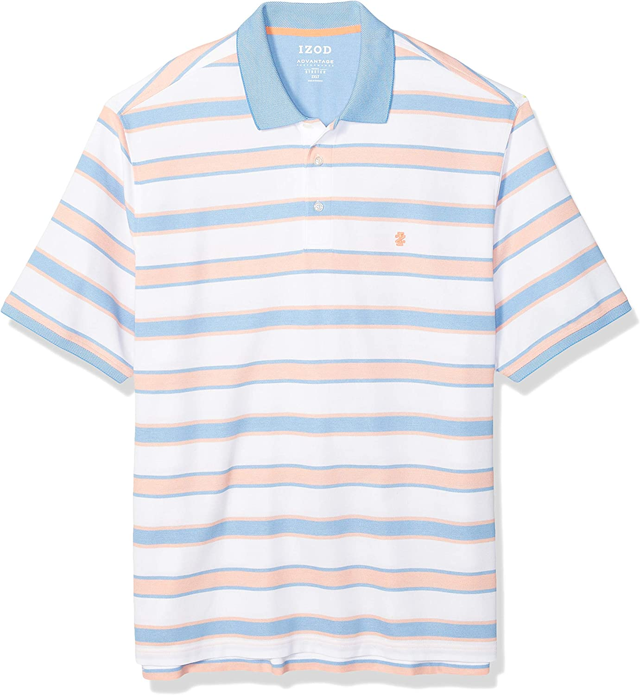 IZOD Men's Big and Tall Advantage Performance Short Sleeve Stripe Polo