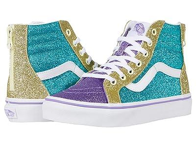 Vans Kids Sk8-Hi Zip (Little Kid) ((Mermaid Glitter) Color-Block) Girls Shoes