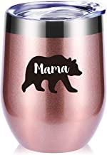Mama Bear Wine Glasses Tumbler With Funny Sayings.Mother's Day Gifts,Mom Birthday Gifts,New Mommy gifts,Mom Gifts,Christmas Gifts.Gifts For Wife,Baby Shower,Mom To Be,Momlife Mug(Rose Gold)