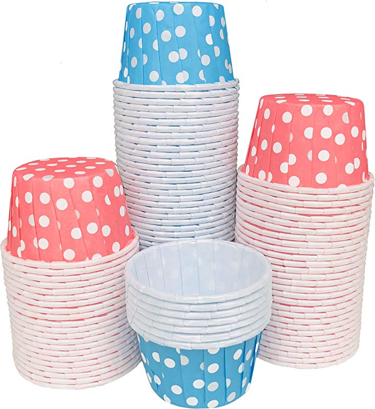 Gender Reveal MINI Candy Nut Paper Cups Mini Baking Liners Light Blue Pink White Polka Dot 100 Pack