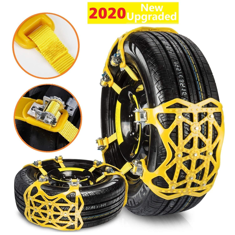 Qisiewell Universal Schneeketten 2020 Upgrade Gelb Einfach Zu Montieren Reifen Schneekette Für Jede Reifenbreite 165 285mm 6 Teiliges Set Auto