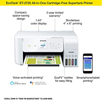 Epson EcoTank ET-2720 Wireless Color All-in-One Supertank Printer with Scanner and Copier - White